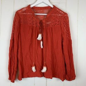 Entro Blouse Large Tassels Lace Burnt Orange Top